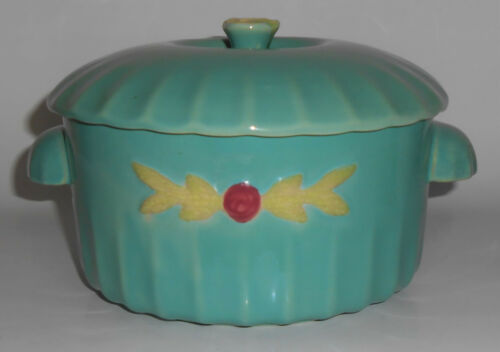 Coors Pottery Rosebud Green Large Dutch Casserole