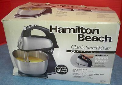 Hamilton Beach Classic Stand Hand Mixer 6 Speeds Shift & Stir Stainless Bowl
