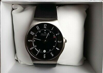 Skagen Mens Klassik Black Leather Strap Watch