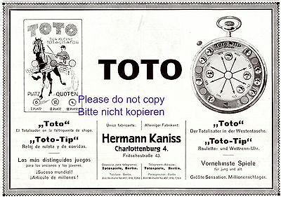 Totalisator Toto Tip German 1920 ad horse race advertising totoalizer bet Kaniss
