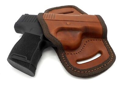 Right Hand Brown Leather OWB Open Top Belt Holster for SIG SAUER P365 Open Top Sig