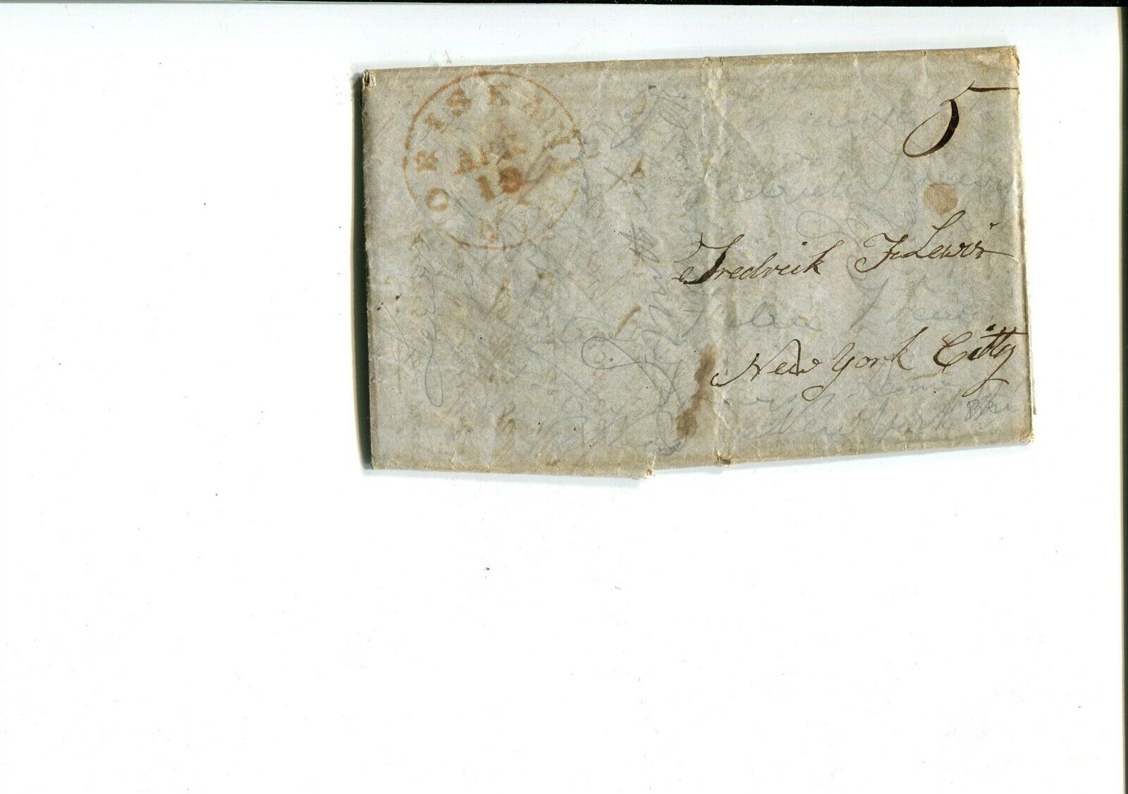 GP GOLDPATH US STAMPLESS COVER 1850,W/LETTER, ORISKANY, NY. CV747 P12 - $5.50