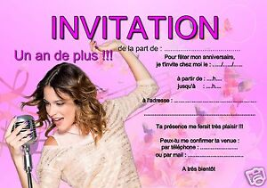 5 ou 12 cartes invitation anniversaire violetta ref 286 ebay. Black Bedroom Furniture Sets. Home Design Ideas
