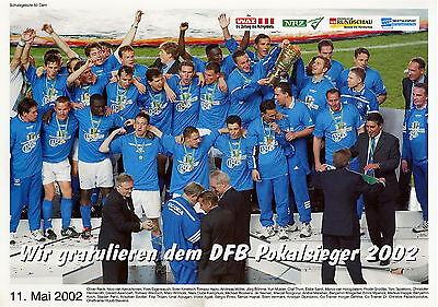 Poster Schalke 04 DFB Pokalsieger 2002 m. Huub Stevens Ebbe Sand Olaf Thon Pinto
