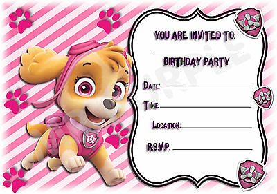 A5 NICK JR CHILDRENS PARTY INVITATIONS X 12 PAW PATROL SKYE – Childrens Party Invitations
