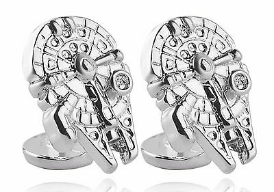 Cufflinks Star Wars Millennium Falcon silver Clrr War Space Ship Cuff Links slv