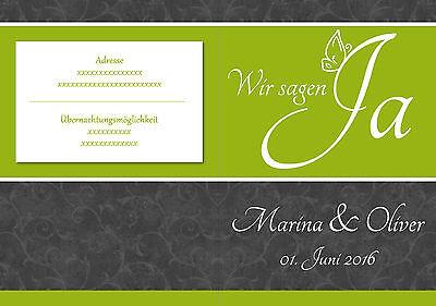 ♥Einladungskarten Hochzeitskarten Grün Grau Floral Blumen Geburtstagseinladungen