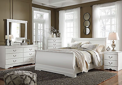 DONNA Traditional White 5pcs NEW Bedroom Set Furniture w/ Queen Size Sleigh Bed