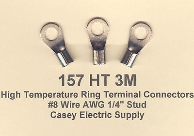 10 High Temperature 3m Ring Terminal Connectors 8 Wire Gauge 14 Stud 3m Brand