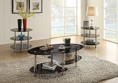 NEW ZURICH MODERN 3PC CHROME METAL BLACK GLASS OVAL ROUND COFFEE END TABLE SET Chrome Round Coffee Table