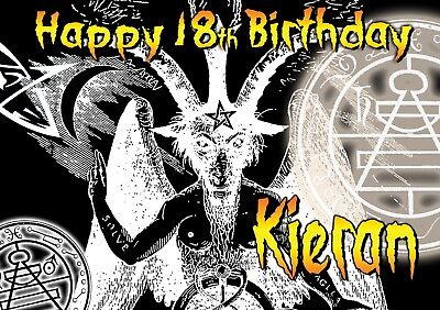 Happy Birthday / Halloween SATAN death metal Goat of  Mendes PERSONALISED Card](Satan Birthday Halloween)