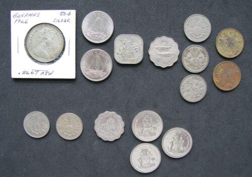 Lot of 16 Mixed Bahamas Coins. 1966, 73,75, 77. 1,5,10,15, 25 & Silver 50 cents