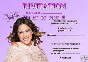Invitation anniversaire violetta - Carte violetta a imprimer ...