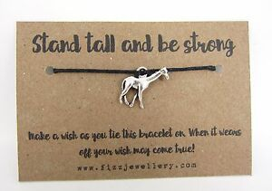 Stand Tall And Be Strong Giraffe Black Tie On Message Card Wish Bracelet Gift