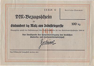 Seltener Bezugsschein 1939 DM Einhundert kg Malz aus Industriegerste Breitenbach