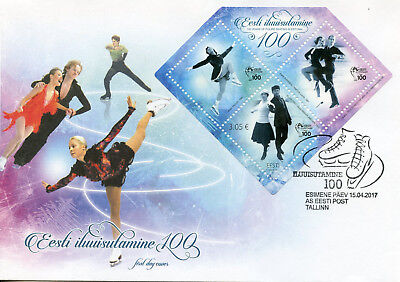 Estonia 2017 FDC Estonian Ice Figure Skating 100 Yrs 1v M/S Cover Sports Stamps