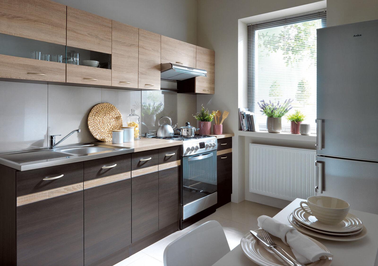 Complete Kitchen Set 7 Cabinets Cupboards Units Wenge Sonoma Oak Junona 240cm 5900211559760 Ebay