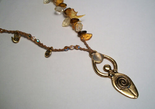 Moon Goddess Pendant Necklace Handcrafted  Artisan Woven Charms & Leaves