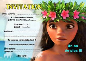 5 12 ou 14 cartes invitation anniversaire vaiana ref 419 for Ou avoir des cartons gratuits