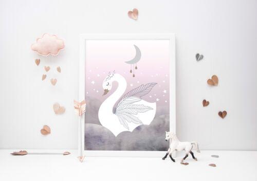 Swan Princess - Nursery Print - Wall Art - Baby Room - Kids Bedroom - Moon Stars