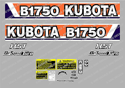 Kubota B1750 Hst Compact Tractor Decal Sticker
