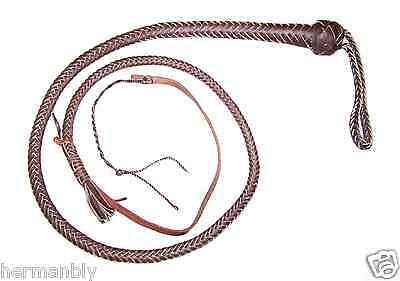 SNAKE WHIP 4 foot 12 plait Dark Brown Leather Pocket Bull whip Self defense