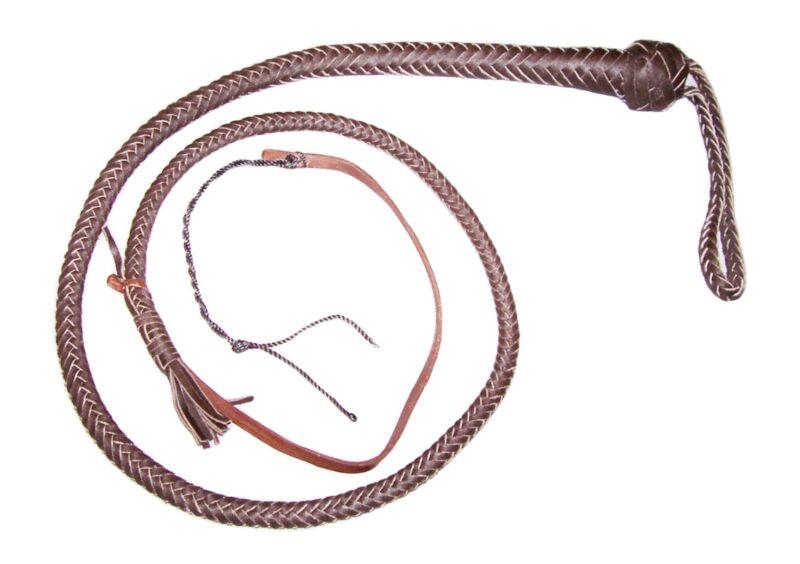 SNAKE WHIP 6 foot 12 plait Dark Brown Leather Pocket Bull whip Self defense