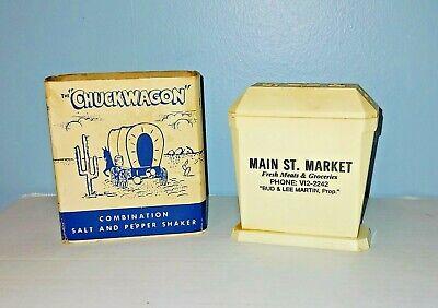 """Vintage Advertising The """"Chuckwagon"""" Salt & Pepper Shaker Main St. Market"""