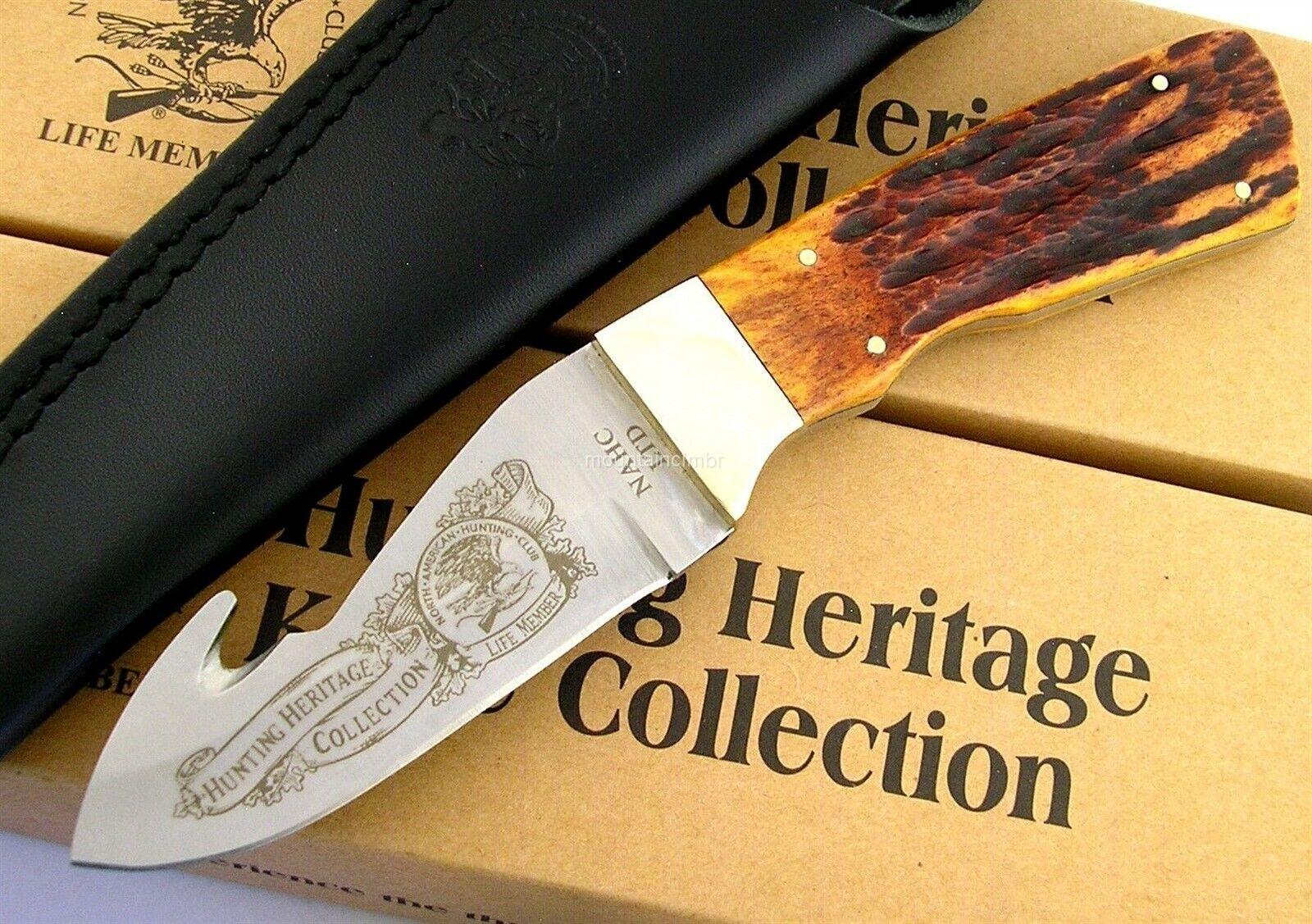 "Bone Handle Leather Sheath North American Hunting Club Large 5/"" Lock Back Knife"