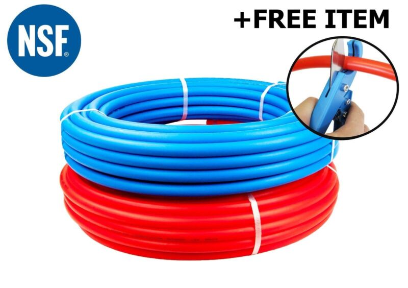 "2 Rolls 1/2"" x 100 feet PEX Tubing for Potable Water Combo PEX-B Free PEX Cutter"