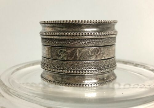 """Antique Silver Plated Napkin Ring w/ Monogram 1 1/8"""" Wide"""