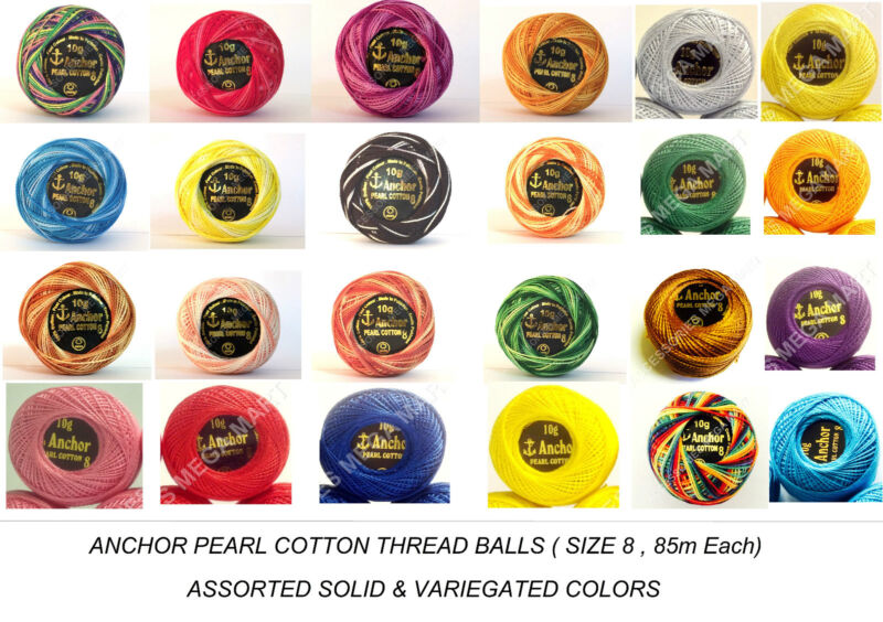 85m 10 Anchor Pearl Cotton Embroidery Crochet thread solid pastel Ball size 8