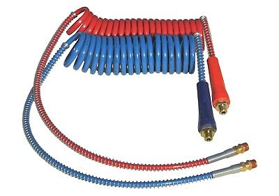 15' COILED AIR BRAKE LINE SET RED & BLUE WITH DURA GRIPS FOR TRACTOR TRAILER