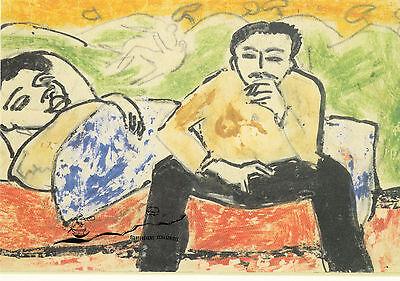 Kunstkarte: Ernst Ludwig Kirchner - Frau im Bett, Mann auf der Bettkante