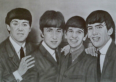 The Beatles original graphite pencil drawing