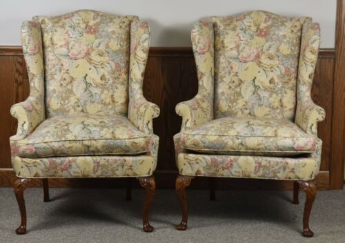 Pair HICKORY CHAIR James River Mahogany Chippendale Carved Wing Chairs Tapestry