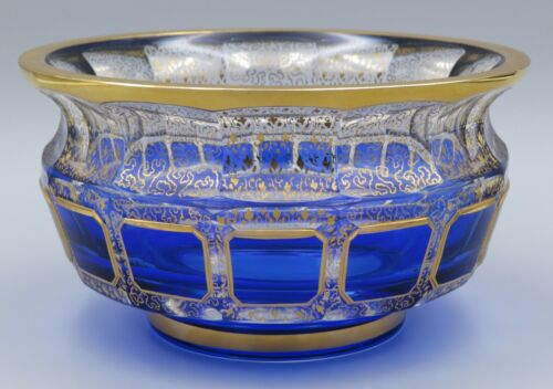 Bohemian Moser Blue Cabochon Style Glass Bowl Gold Highlights