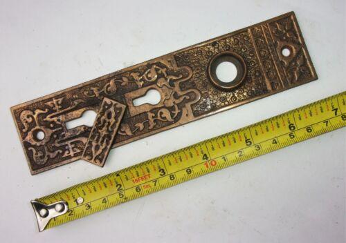 One Antique Victorian Eastlake Ornate Double Key Door Plate Backplate