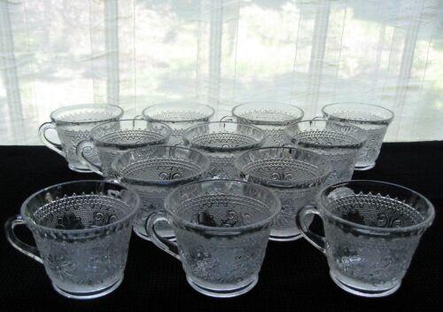 Tiara Indiana Glass 12 Clear Sandwich 6 oz Punch Cups