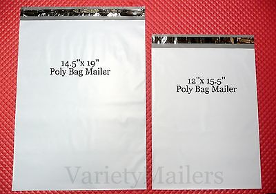 12 Poly Envelope Combo 6 Each 14.5x19 12x15.5 Self-sealing Postal Mailers