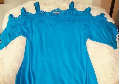 Kate   Mallory  Sz L Turquoise Stretch Knit   Crochet Top Chest 40  Evine  Live