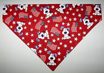Patriotic Pups & Flags Dog Bandana Scarf-Slide over Collar-Size Small to XLarge