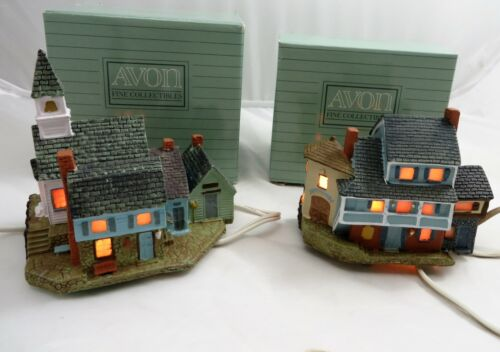 Set of 2 AVON Early American Light-Up Village Collection Church & Town Square
