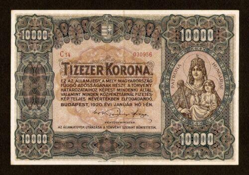Hungary Ungarn 10000 10.000 Korona 1920 . XF. Huge banknote Pick # 68 Very rare