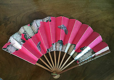 Antique Japanese Lady's Paper & Wood Hand Fan Bright Pink Peonies Butterflies