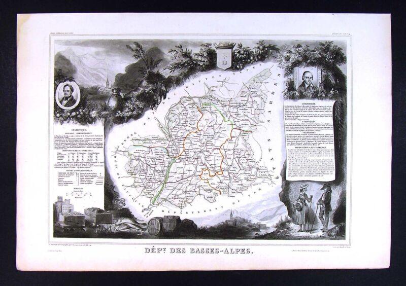 1852 Levasseur Antique France Map Department des Basses Alpes Digne Forcalouier
