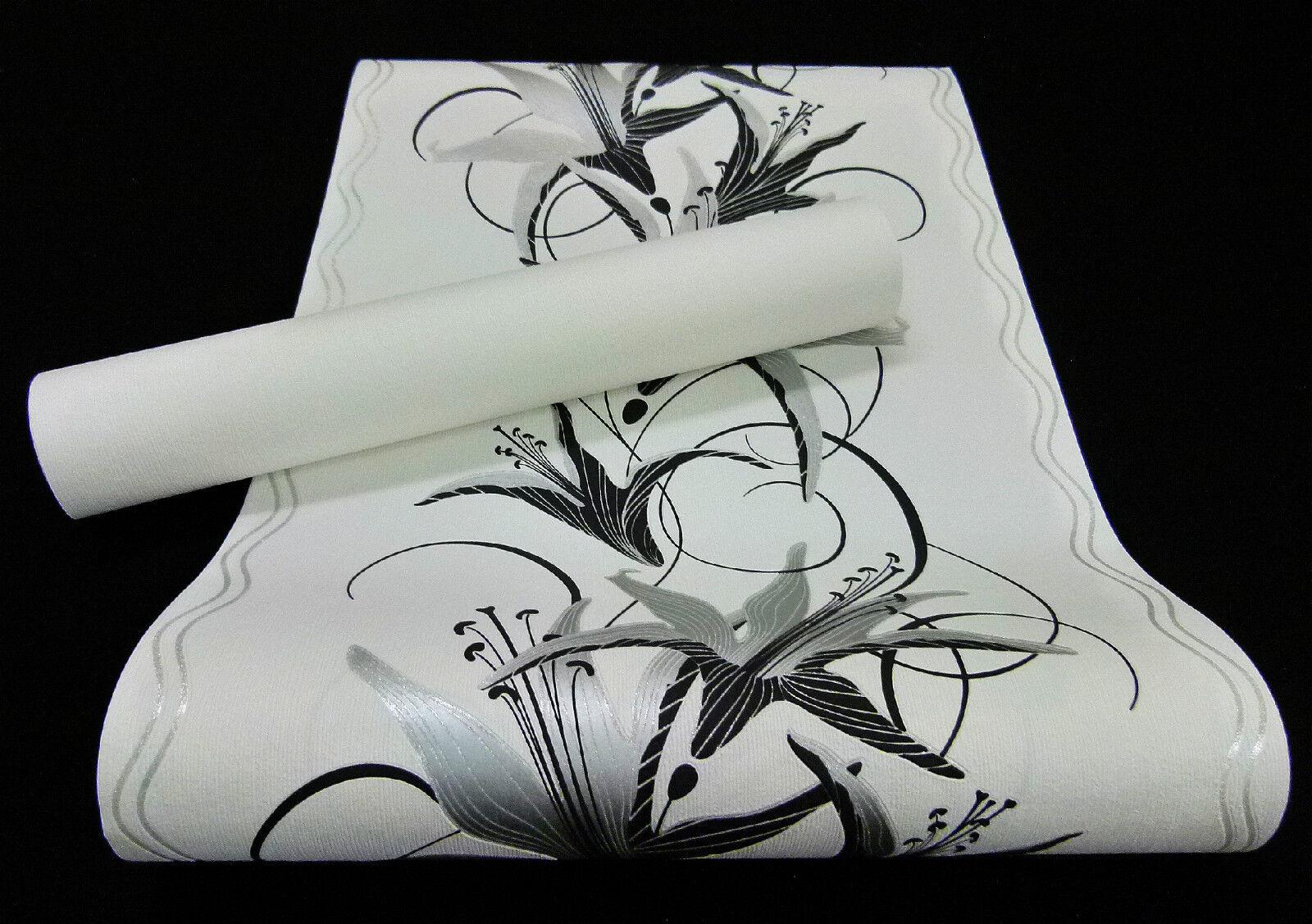 """13305-) edle Vliestapete """"Easy"""" edles Blumen Design Tapete schwarz und silber"""