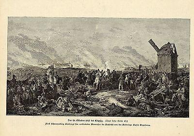 Der 18.Okt.1813 bei Leipzig (Niederlage Napoleons) Militärische Graphik von 1899