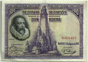 BILLETE-DE-100-PESETAS-DE-1928-MBC-CERVANTES-SIN-SERIE