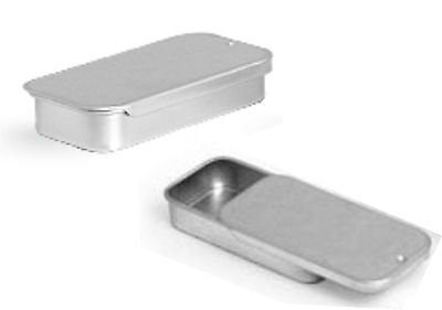 Metal Slide Top Tin Containers Sml. Craft Geocache Storage Survival Kit (3 pack)